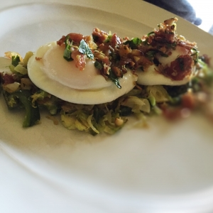 Brussel Sprout Hash with Proscuitto Gremolata and Eggs